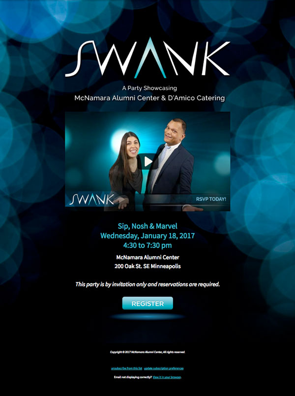 Swank Email Invite